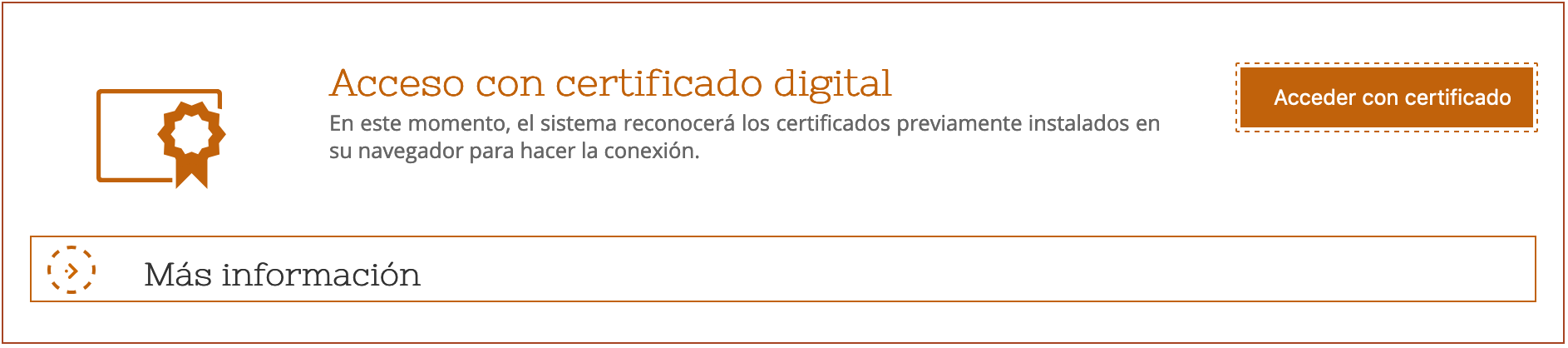 Access with your digital certificacte