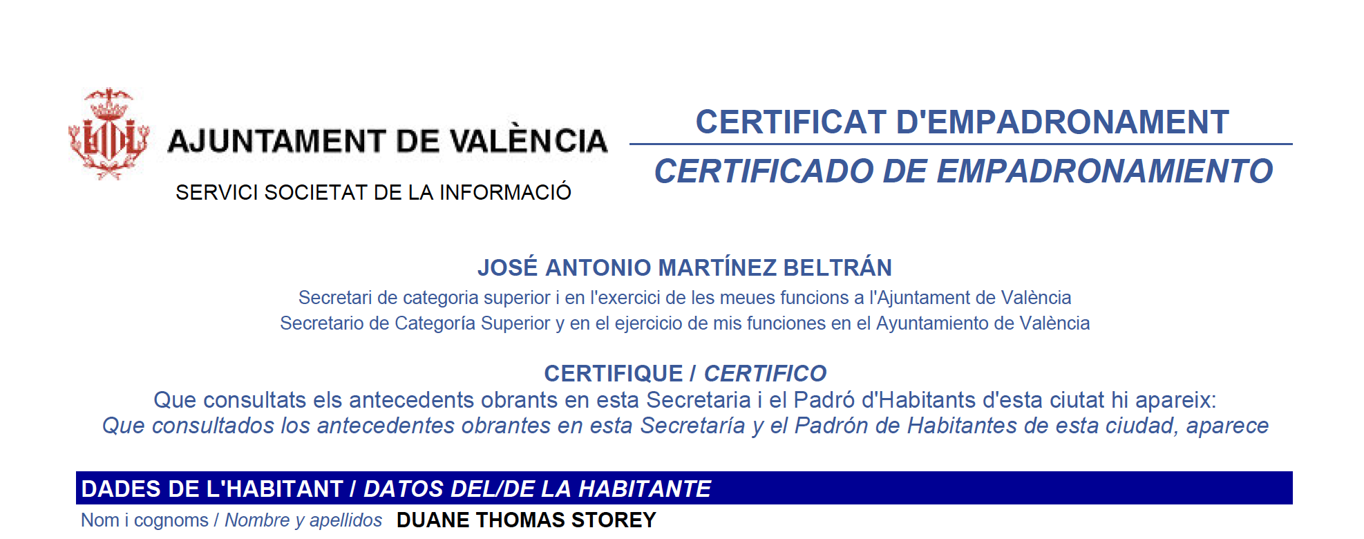 New Padrón Certificate